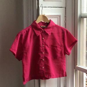 Vintage Fuschia Sheer Button Up Crop Top Blouse